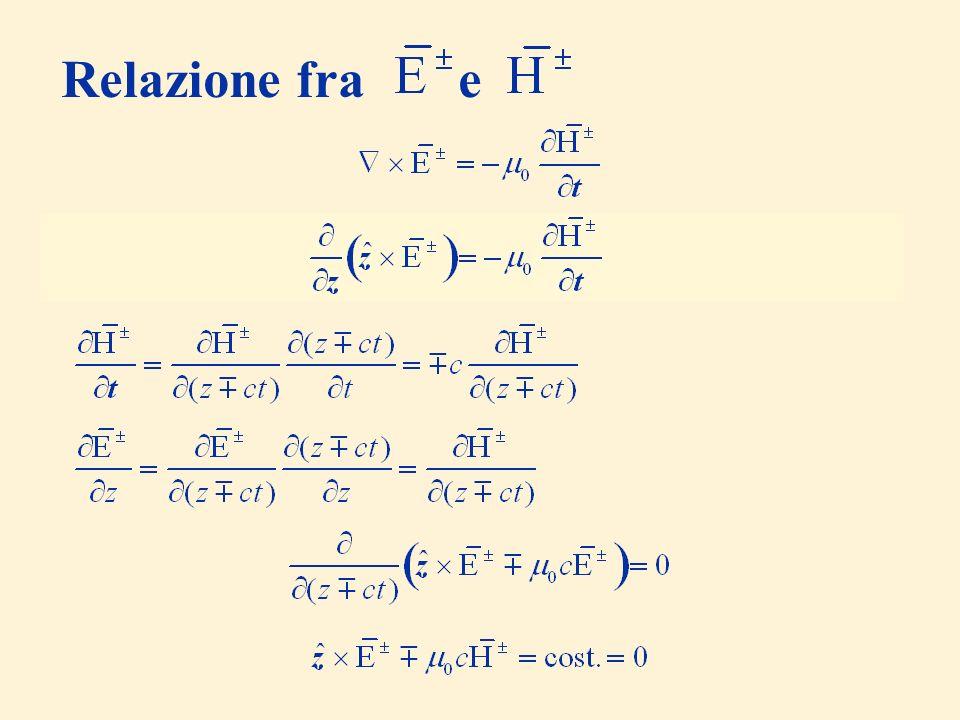 Relazione fra e (il campo considerato non dipende da x e y)