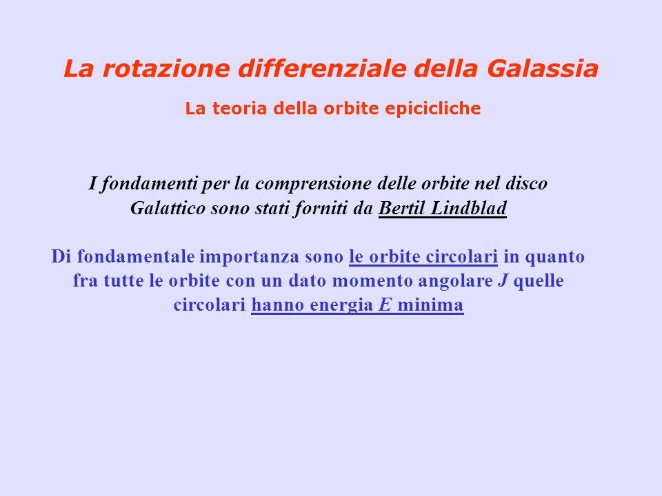 La rotazione differenziale della Galassia La teoria della orbite epicicliche