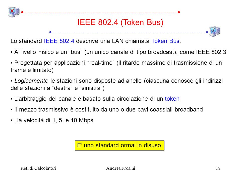 IEEE 802.4 (Token Bus) Lo standard IEEE 802.4 descrive una LAN chiamata Token Bus: