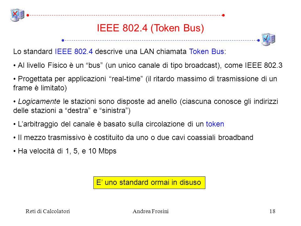 IEEE 802.4 (Token Bus)Lo standard IEEE 802.4 descrive una LAN chiamata Token Bus: