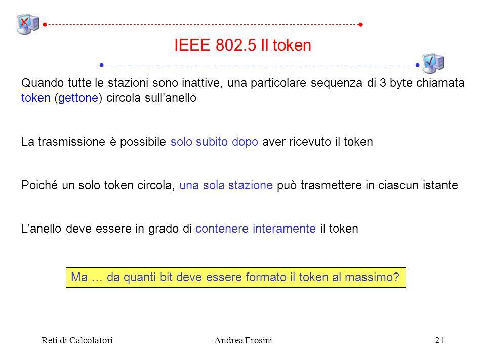 IEEE 802.5 Il token Quando tutte le stazioni sono inattive, una particolare sequenza di 3 byte chiamata token (gettone) circola sull'anello.