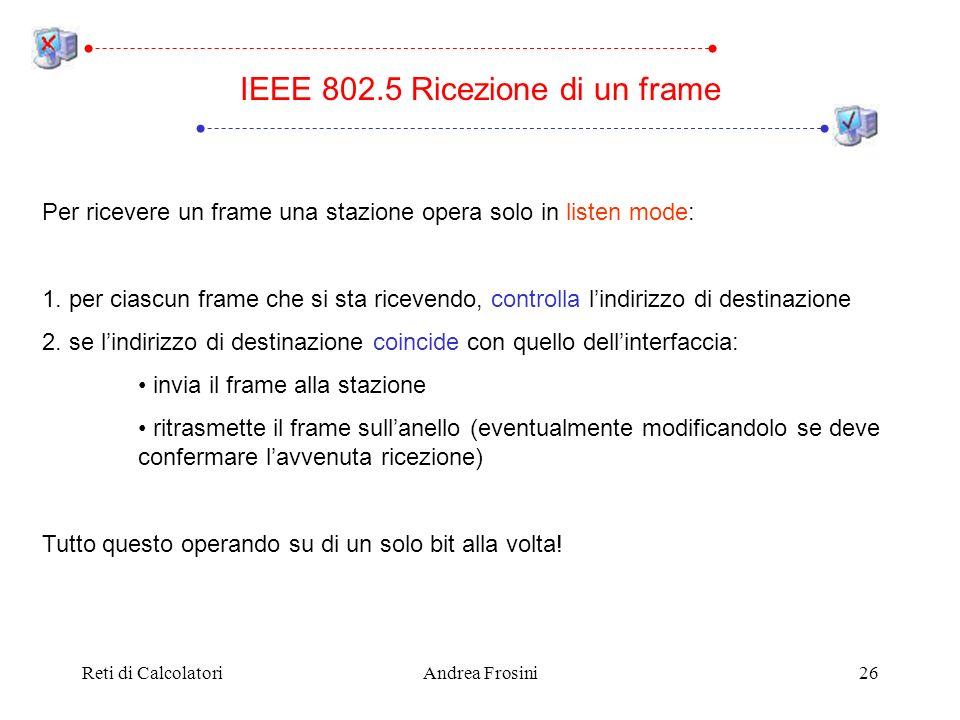 IEEE 802.5 Ricezione di un frame