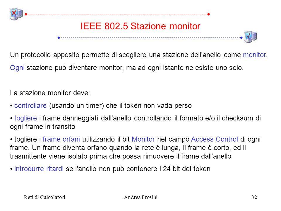 IEEE 802.5 Stazione monitor Un protocollo apposito permette di scegliere una stazione dell'anello come monitor.