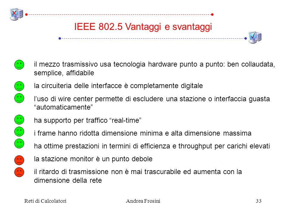 IEEE 802.5 Vantaggi e svantaggi