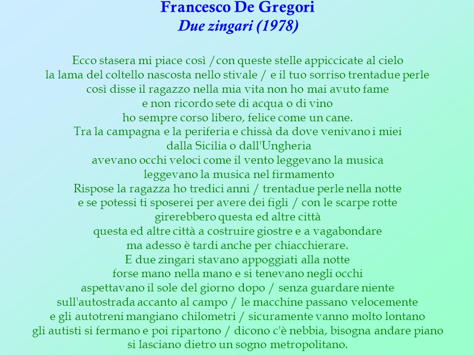 Francesco De Gregori Due zingari (1978)