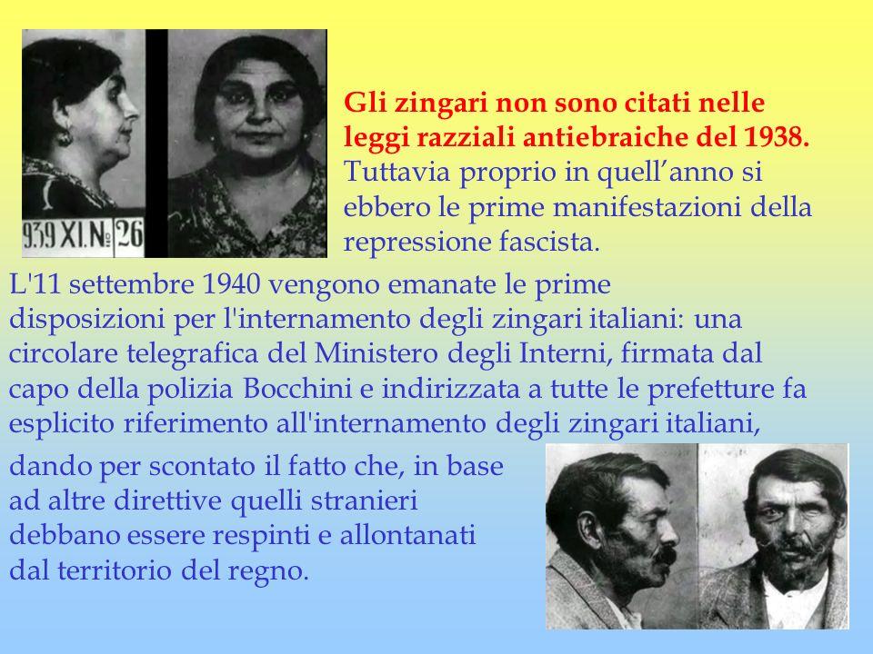 Gli zingari non sono citati nelle leggi razziali antiebraiche del 1938