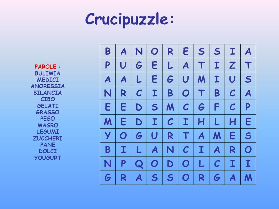 Crucipuzzle: B A N O R E S I P U G L T Z M C D F H Y Q PAROLE :