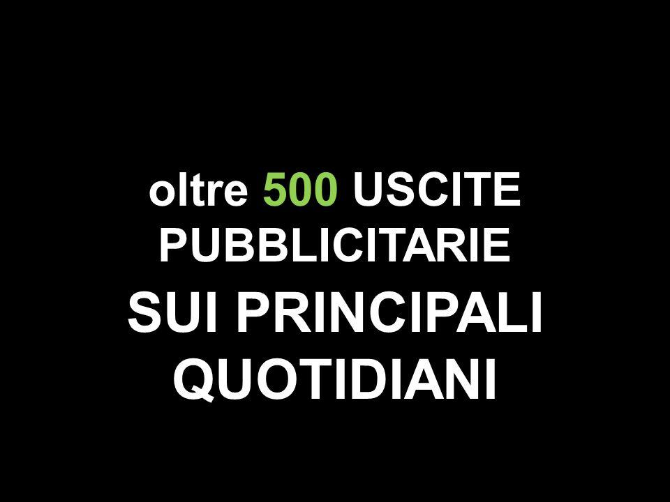 oltre 500 USCITE PUBBLICITARIE SUI PRINCIPALI QUOTIDIANI