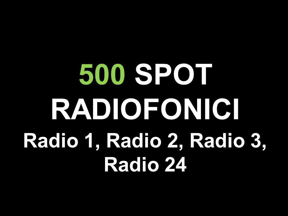500 SPOT RADIOFONICI Radio 1, Radio 2, Radio 3, Radio 24