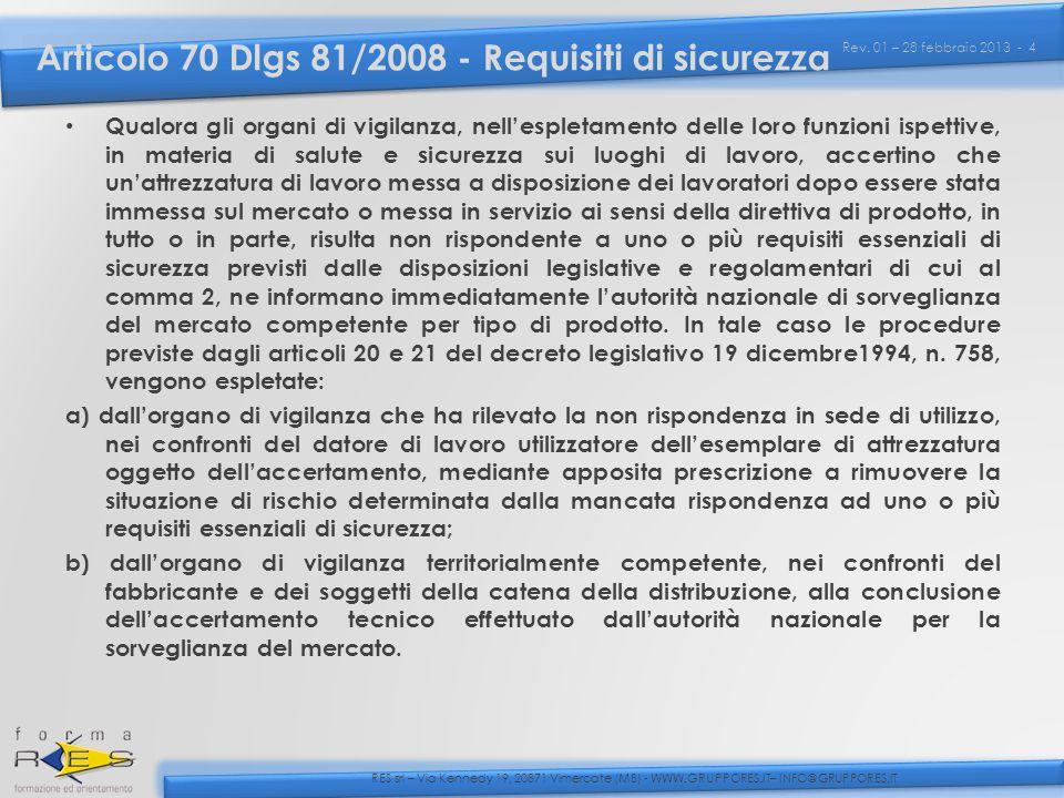 Articolo 70 Dlgs 81/2008 - Requisiti di sicurezza