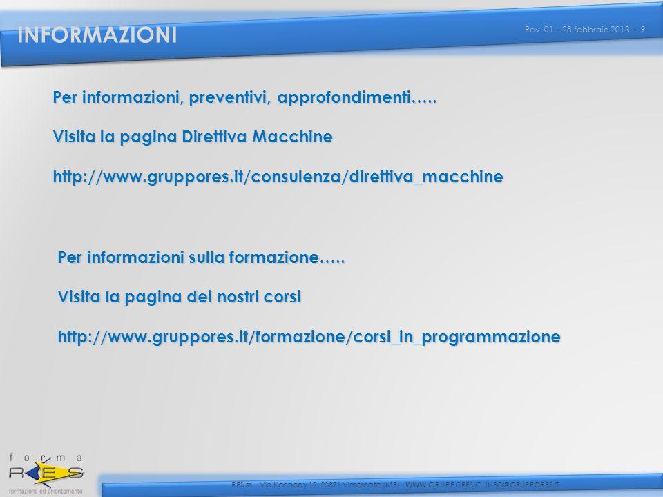 INFORMAZIONI Per informazioni, preventivi, approfondimenti…..