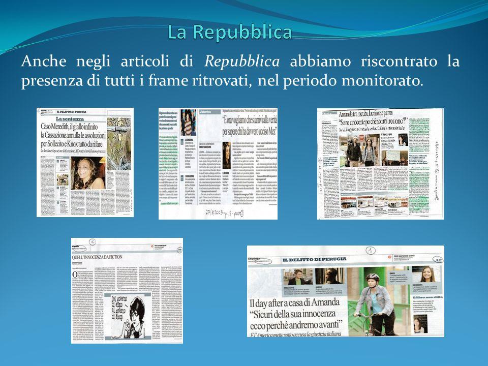 La Repubblica Anche negli articoli di Repubblica abbiamo riscontrato la presenza di tutti i frame ritrovati, nel periodo monitorato.