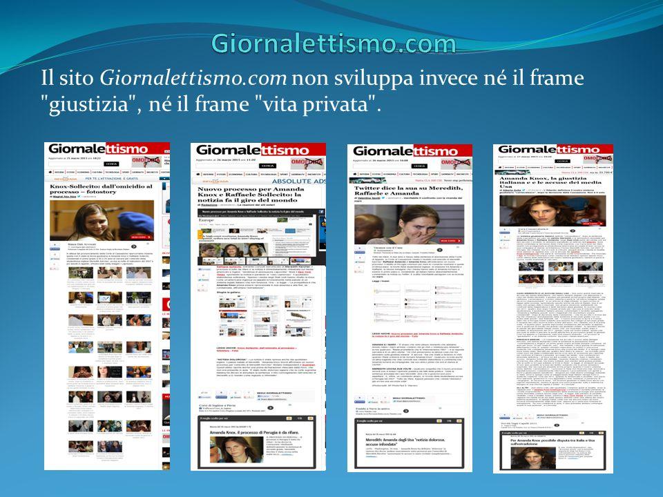 Giornalettismo.com Il sito Giornalettismo.com non sviluppa invece né il frame giustizia , né il frame vita privata .