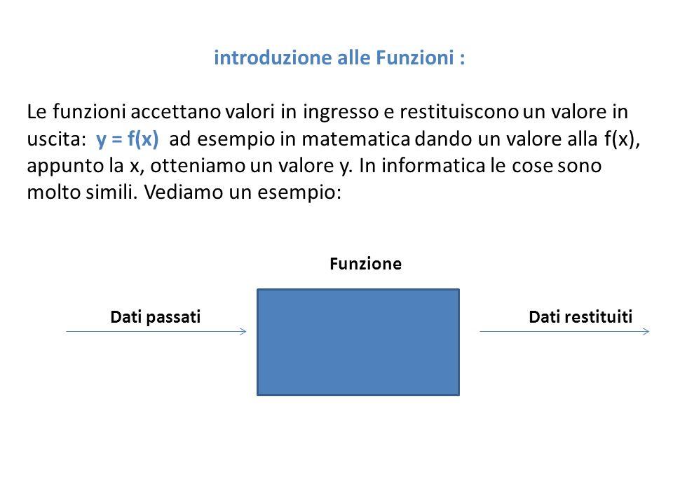 introduzione alle Funzioni :