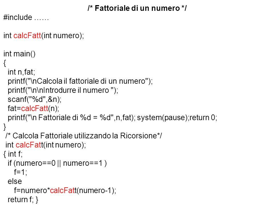 /* Fattoriale di un numero */