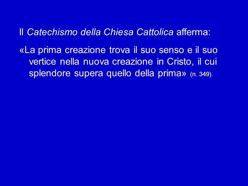 Il Catechismo della Chiesa Cattolica afferma: «La prima creazione trova il suo senso e il suo vertice nella nuova creazione in Cristo, il cui splendore supera quello della prima» (n.