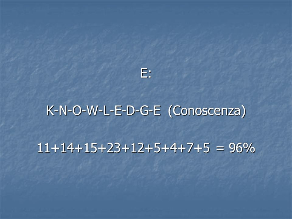 K-N-O-W-L-E-D-G-E (Conoscenza)