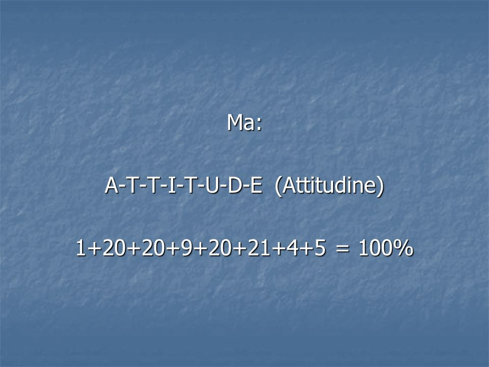 A-T-T-I-T-U-D-E (Attitudine)
