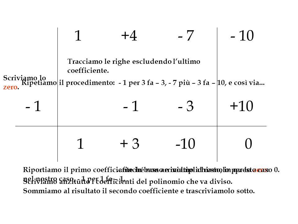 1 +4. - 7. - 10. Tracciamo le righe escludendo l'ultimo coefficiente. Scriviamo lo zero.