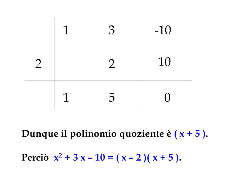1 3 -10 10 2 2 1 5 Dunque il polinomio quoziente è ( x + 5 ).
