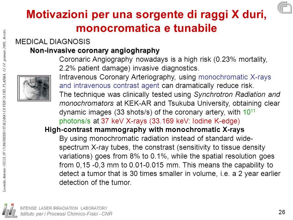 Motivazioni per una sorgente di raggi X duri, monocromatica e tunabile