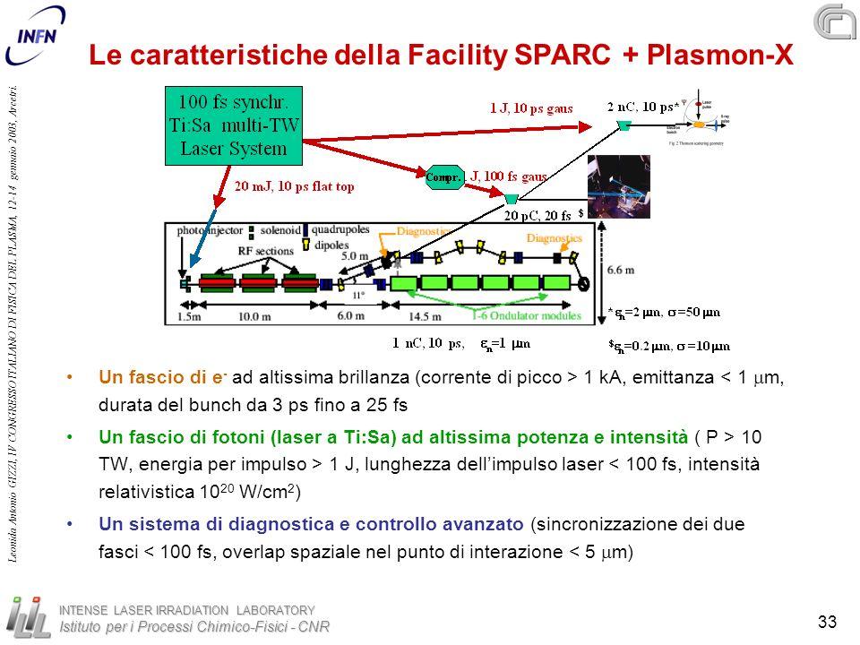 Le caratteristiche della Facility SPARC + Plasmon-X
