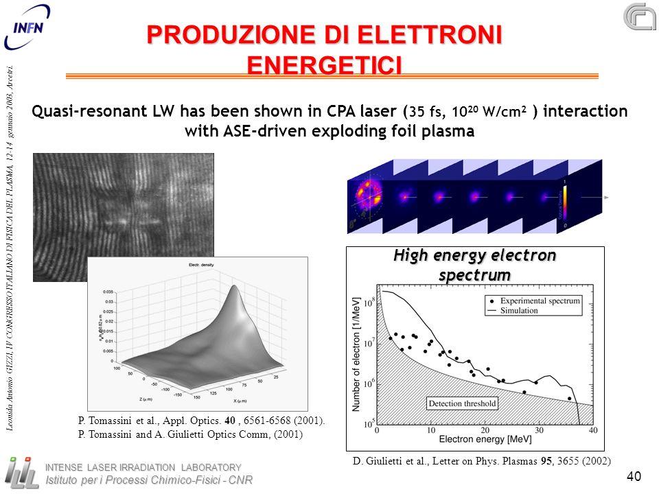 PRODUZIONE DI ELETTRONI ENERGETICI