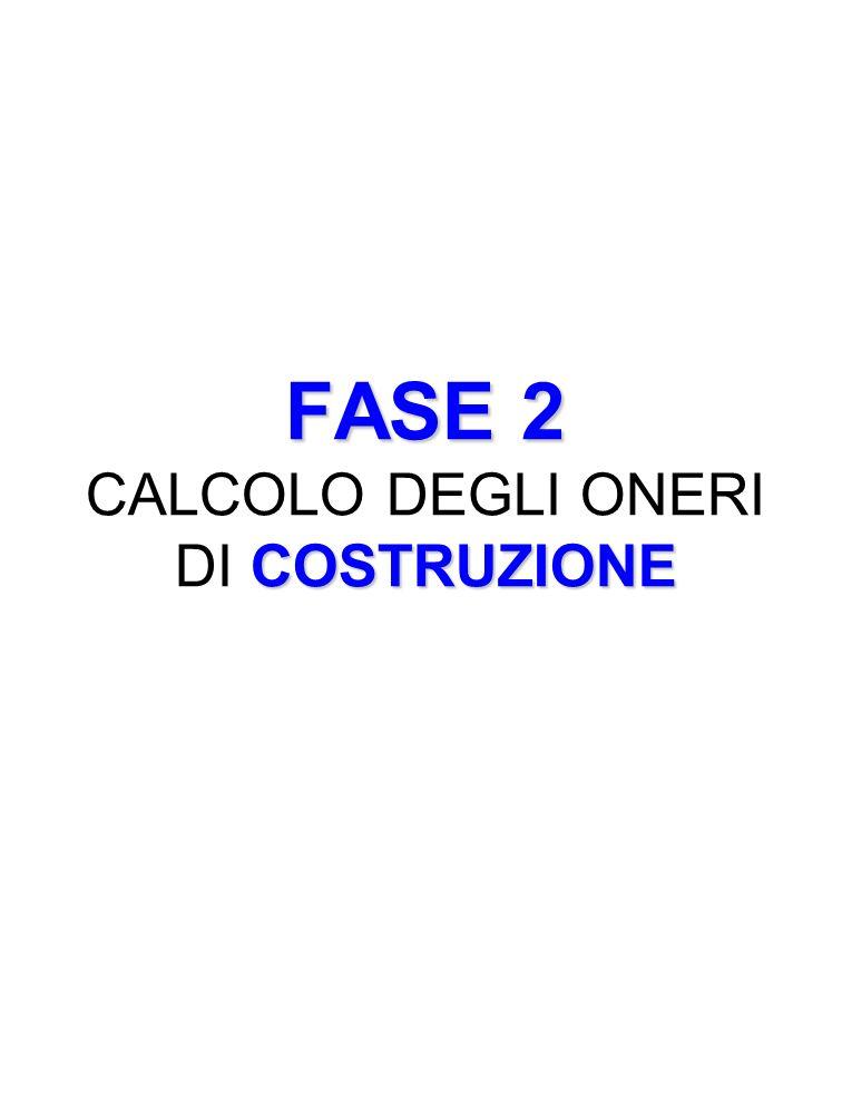 FASE 2 CALCOLO DEGLI ONERI DI COSTRUZIONE