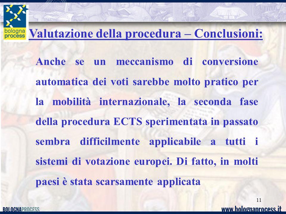 Valutazione della procedura – Conclusioni: