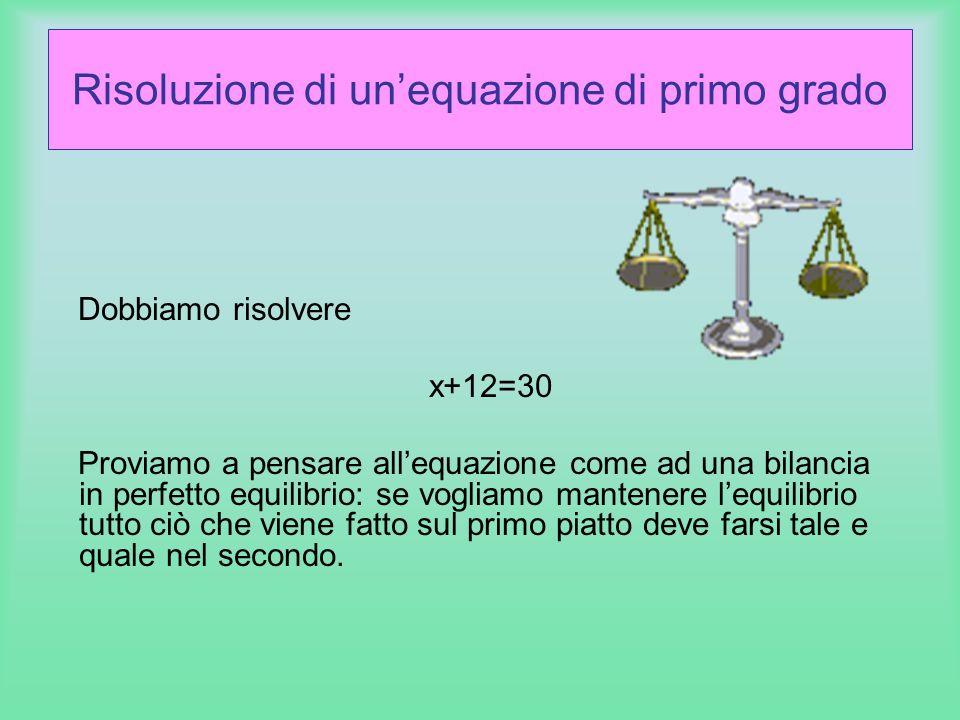 Risoluzione di un'equazione di primo grado