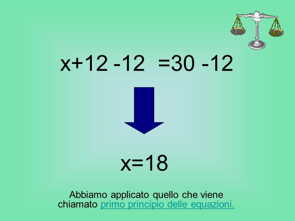 x+12 =30 -12. -12. x=18.