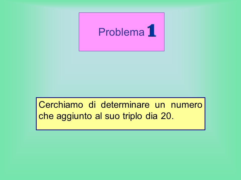 Cerchiamo di determinare un numero che aggiunto al suo triplo dia 20.
