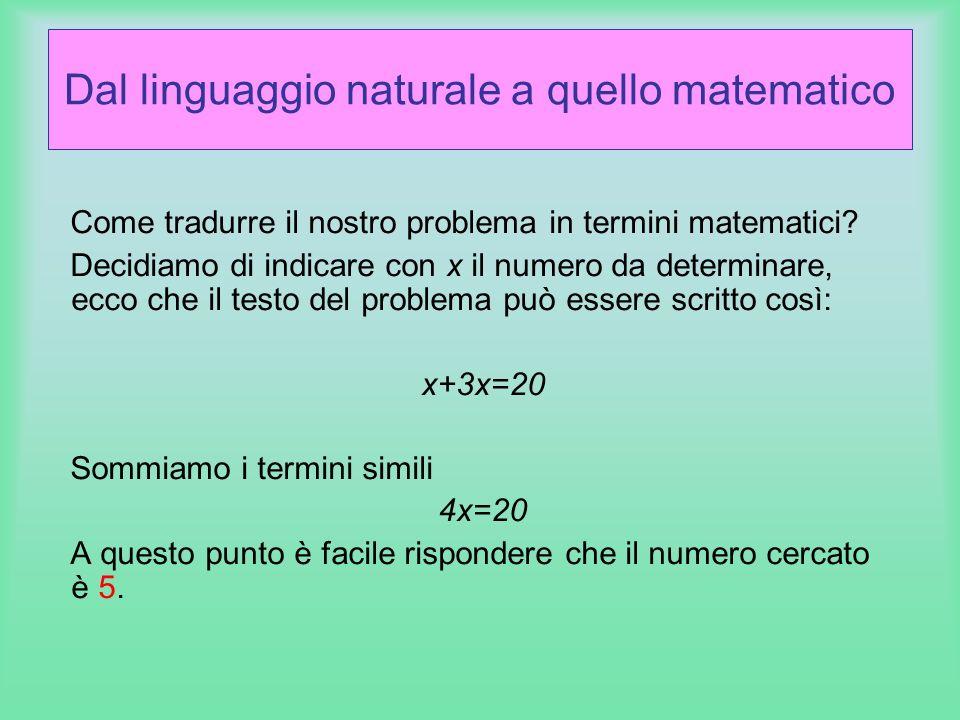 Dal linguaggio naturale a quello matematico
