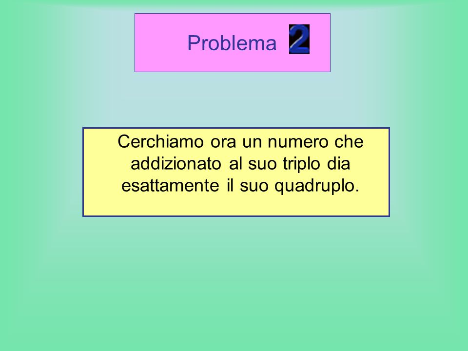 Problema Cerchiamo ora un numero che addizionato al suo triplo dia esattamente il suo quadruplo.