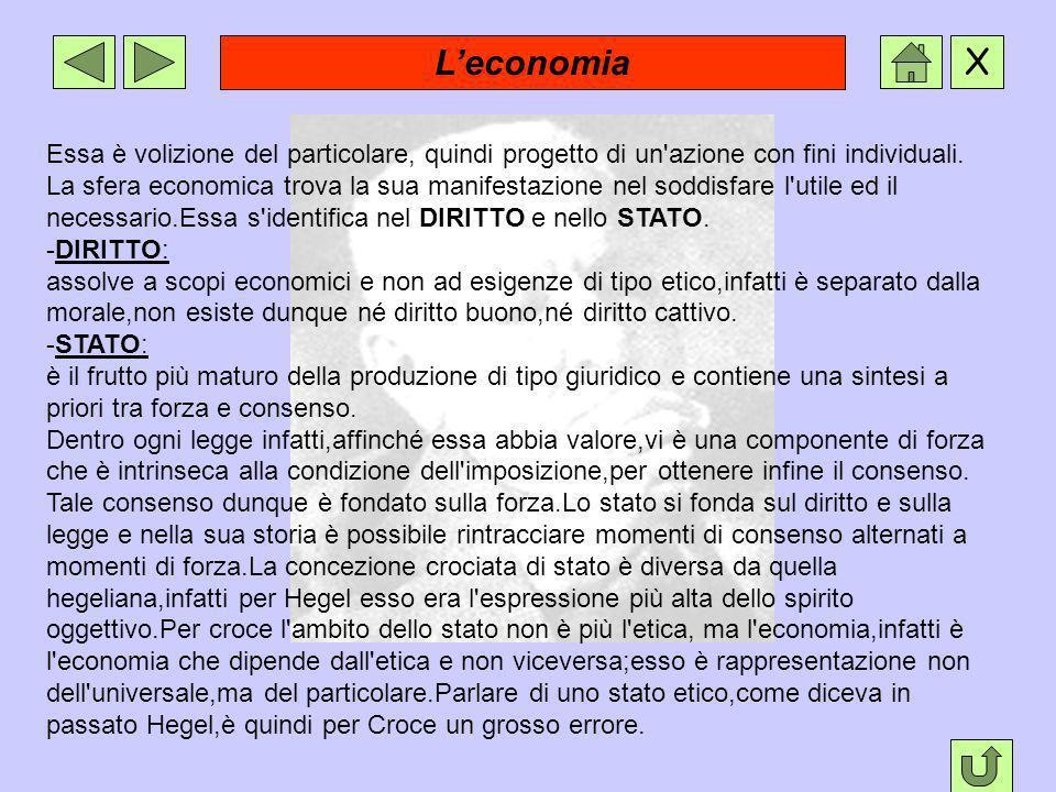 L'economia Essa è volizione del particolare, quindi progetto di un azione con fini individuali.