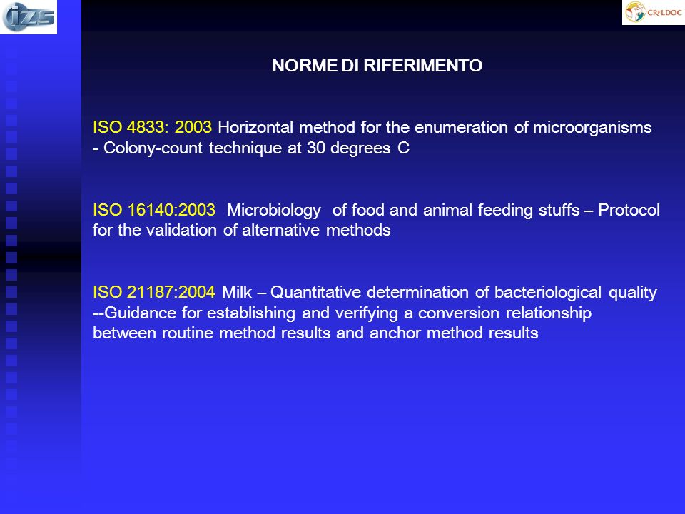 NORME DI RIFERIMENTO ISO 4833: 2003 Horizontal method for the enumeration of microorganisms - Colony-count technique at 30 degrees C.