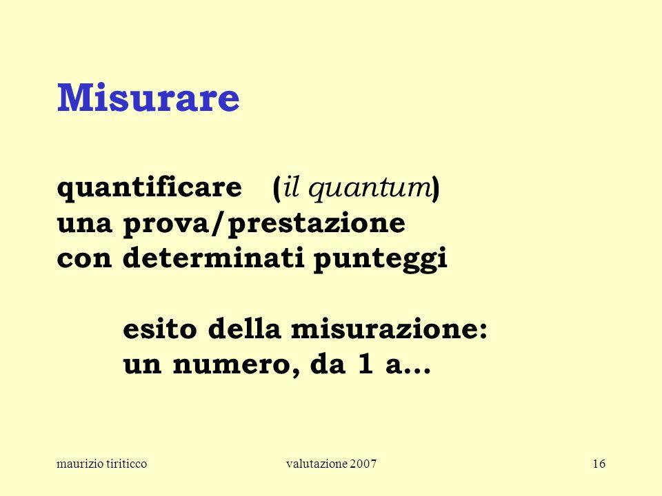 Misurare quantificare (il quantum) una prova/prestazione con determinati punteggi esito della misurazione: un numero, da 1 a…