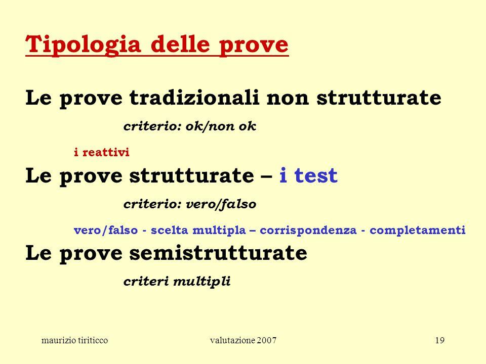 Tipologia delle prove Le prove tradizionali non strutturate