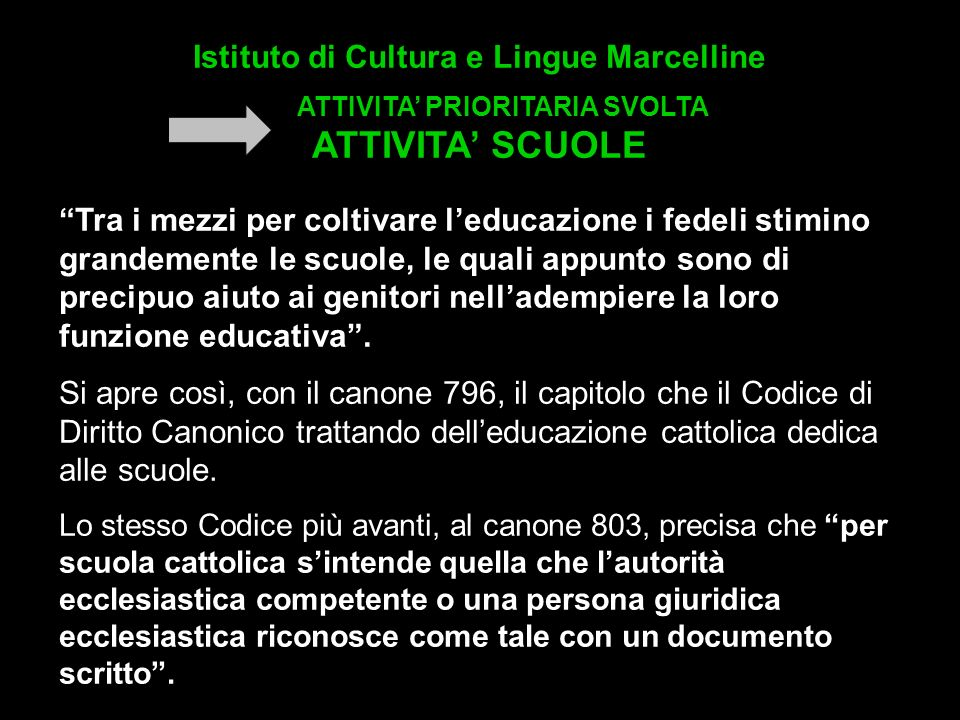 Istituto di Cultura e Lingue Marcelline ATTIVITA' PRIORITARIA SVOLTA