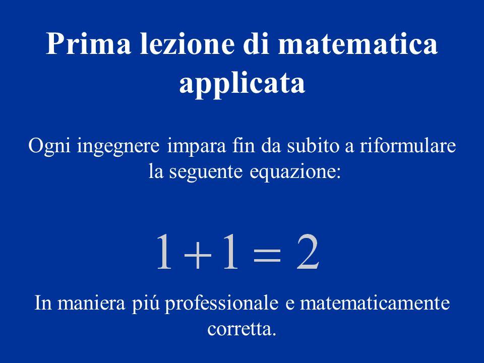 Prima lezione di matematica applicata