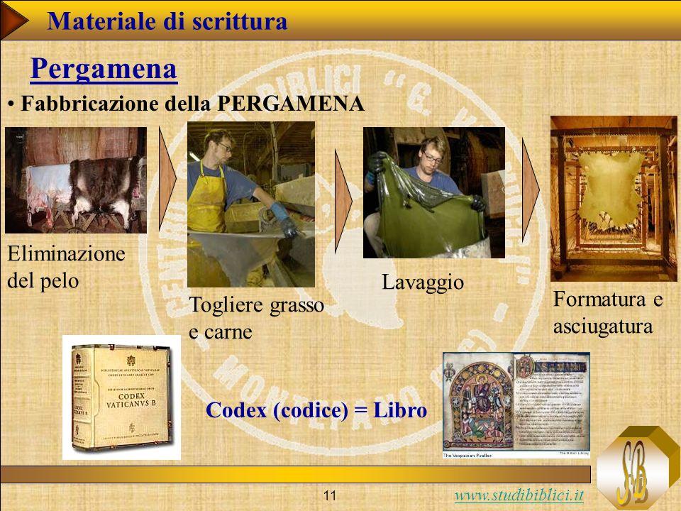 Pergamena Materiale di scrittura Fabbricazione della PERGAMENA