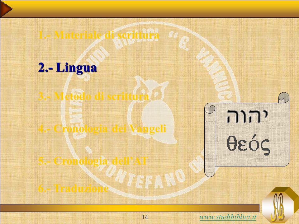 2.- Lingua 1.- Materiale di scrittura 3.- Metodo di scrittura