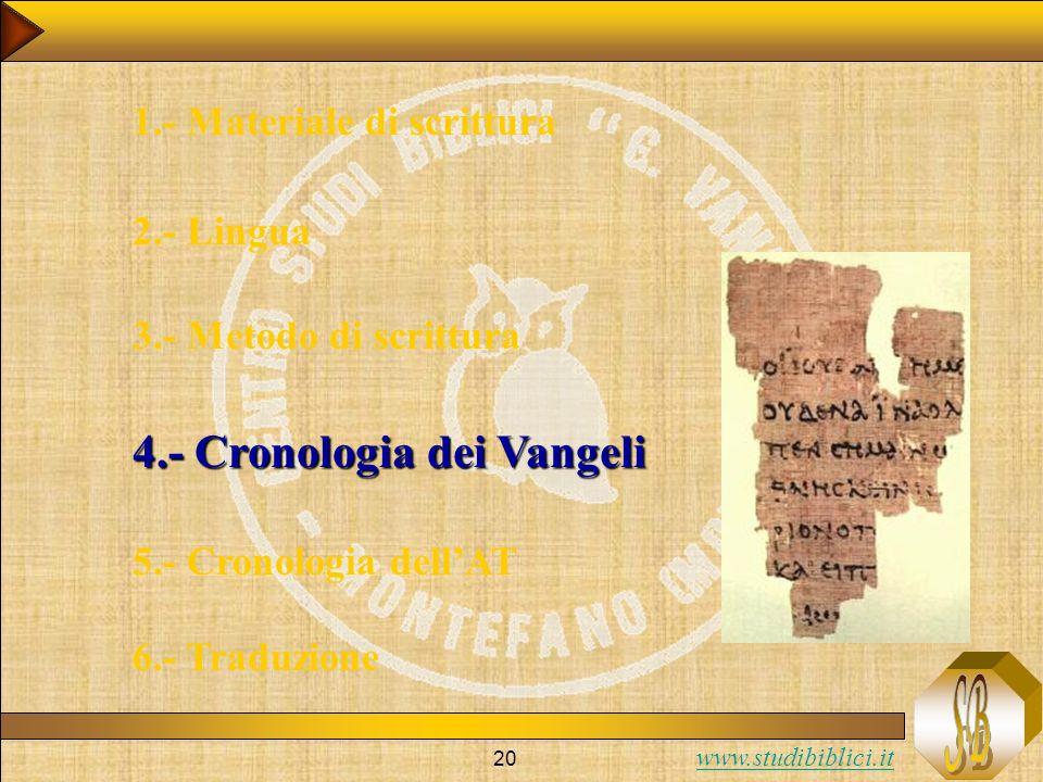 4.- Cronologia dei Vangeli