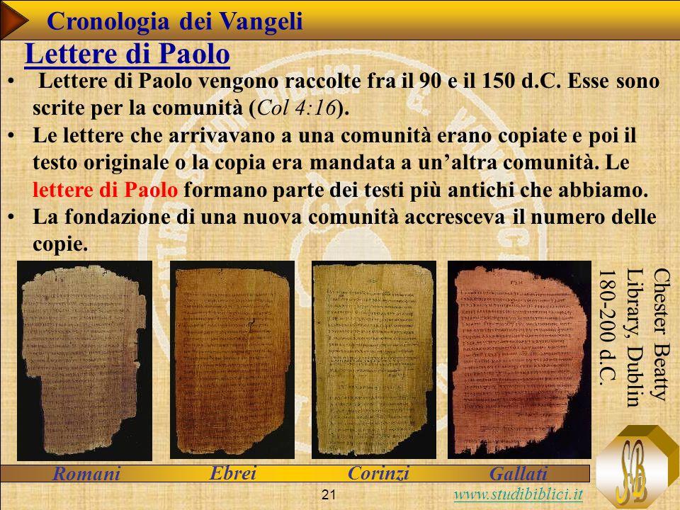 Lettere di Paolo Cronologia dei Vangeli