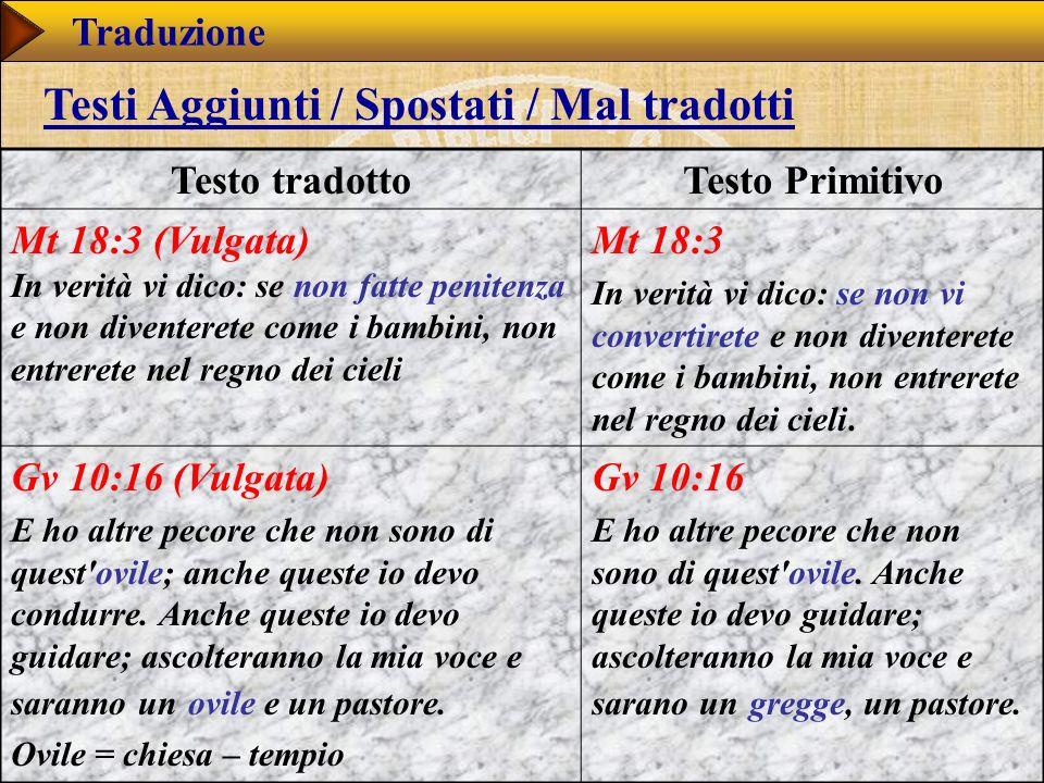 Testi Aggiunti / Spostati / Mal tradotti