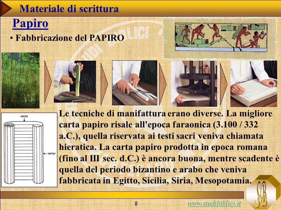 Papiro Materiale di scrittura Fabbricazione del PAPIRO