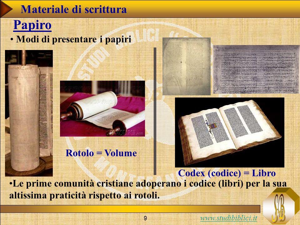 Papiro Materiale di scrittura Modi di presentare i papiri