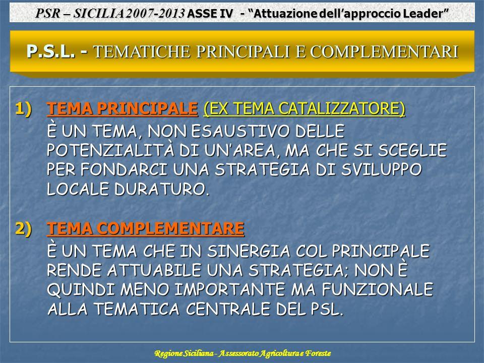 P.S.L. - TEMATICHE PRINCIPALI E COMPLEMENTARI