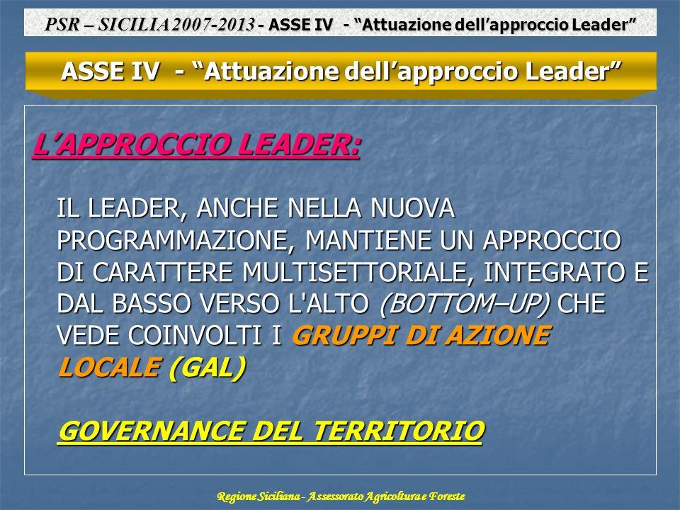 PSR – SICILIA 2007-2013 - ASSE IV - Attuazione dell'approccio Leader