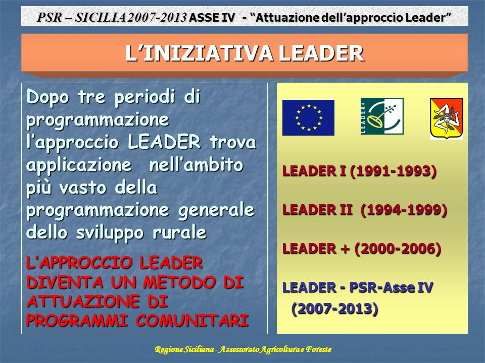 PSR – SICILIA 2007-2013 ASSE IV - Attuazione dell'approccio Leader